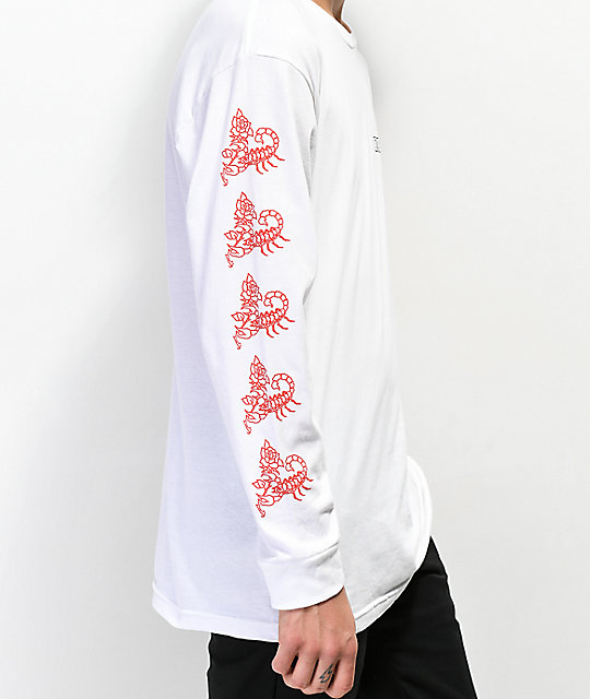 Obey Scorpion Rose White Long Sleeve T-Shirt