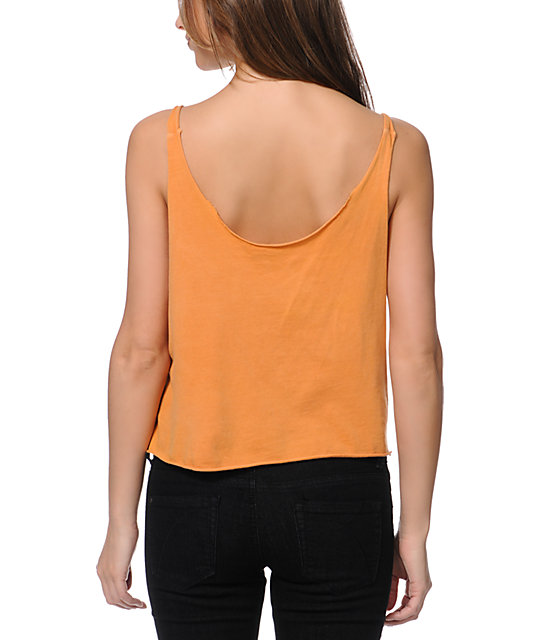 Obey Search And Destroy Orange Broken Crop Tank Top