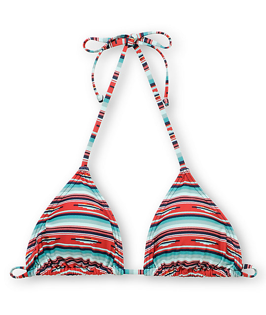 Obey Sedona Teal & Red Triangle Bikini Top