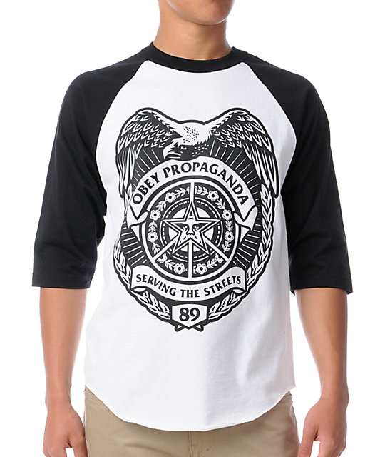 Obey Serving The Streets Black & White Baseball T-Shirt