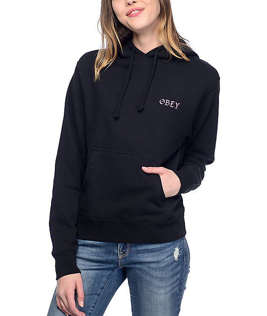 Obey Snake Circle Black Womens Hoodie