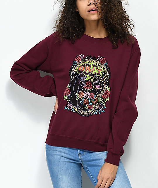 obey-space-&-time-burgundy-crew-neck-sweatshirt by obey
