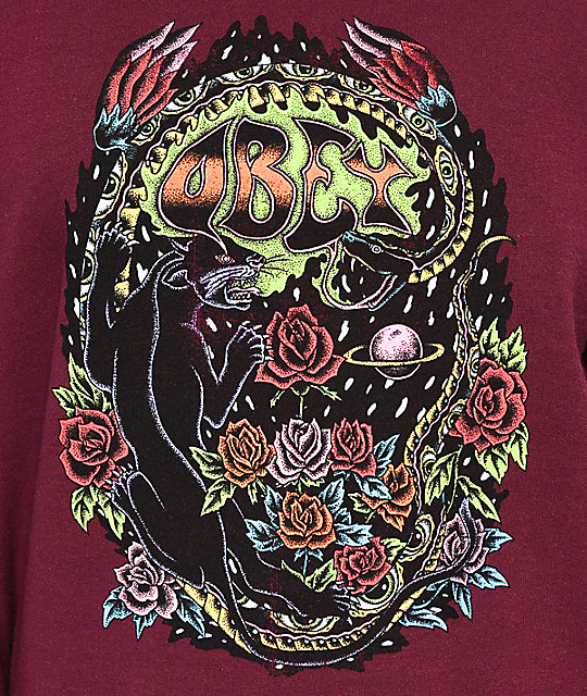 Obey Space & Time sudadera con cuello redondo en color borgoño