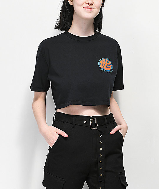 Obey Spoonie Jess Black Crop T-Shirt