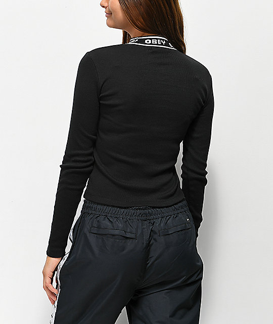 Obey Stanton Black Knit Long Sleeve Top