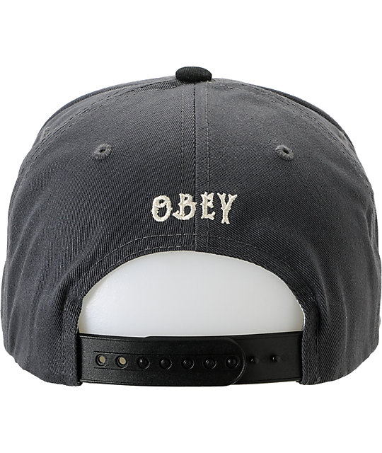 Obey Staple Grey & Black Snapback Hat