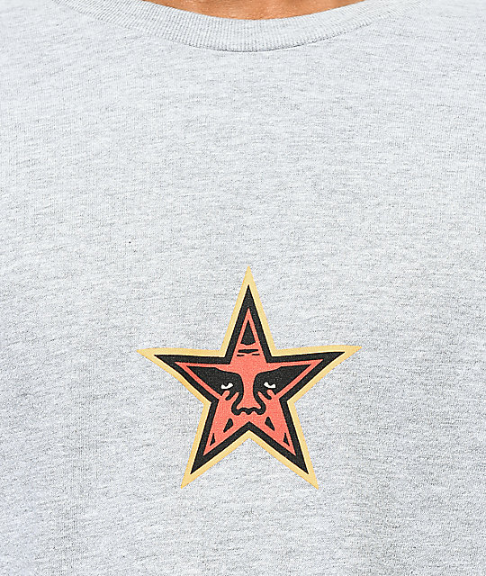 Obey Star Face camiseta gris