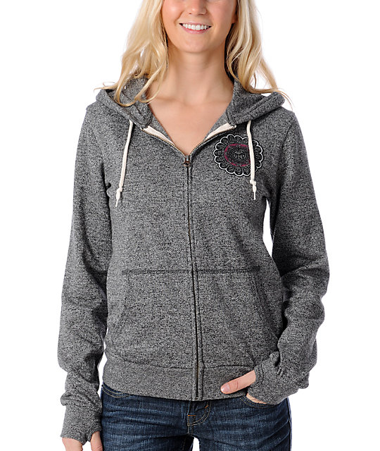Obey Starflower Embroidered Charcoal Hoodie