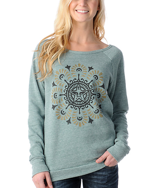 Obey Starflower Vandal Green Crew Neck Sweatshirt