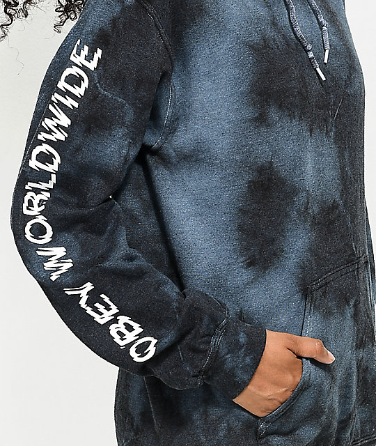 Obey Static Worldwide Black Tie Dye Hoodie