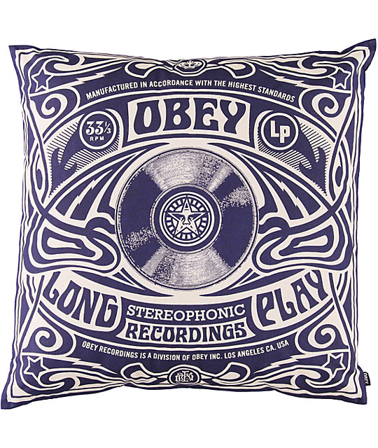 obey stereophonic navy blue throw pillow   zumiez What Is a Throw Pillow