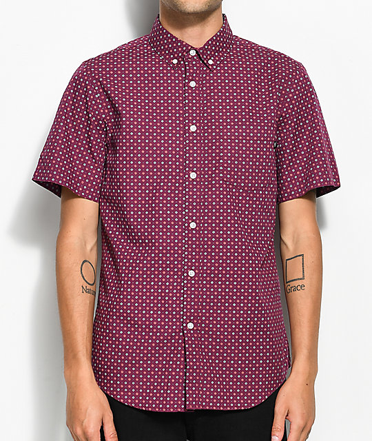 Obey sterling burgundy short sleeve button up shirt zumiez for Short sleeve button up shirts
