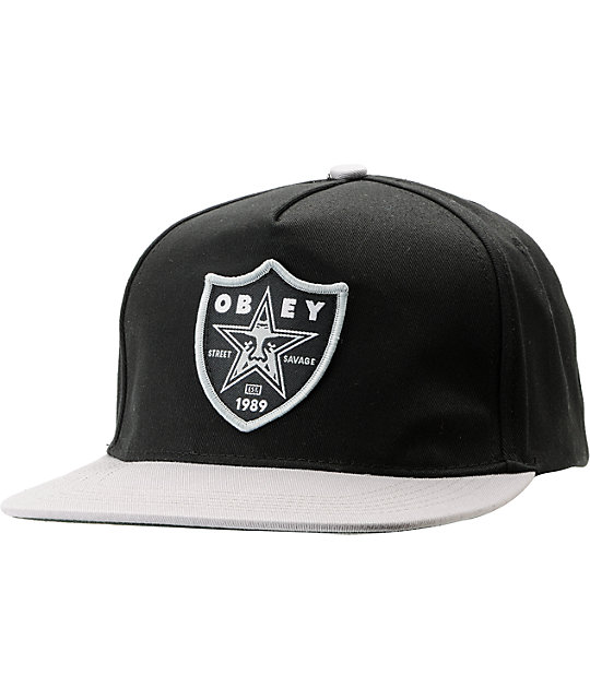 Obey Street Savage Black & Grey Snapback Hat