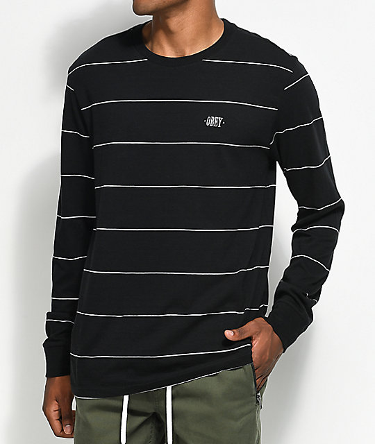 Obey Sutton Striped Black Long Sleeve Knit T-Shirt