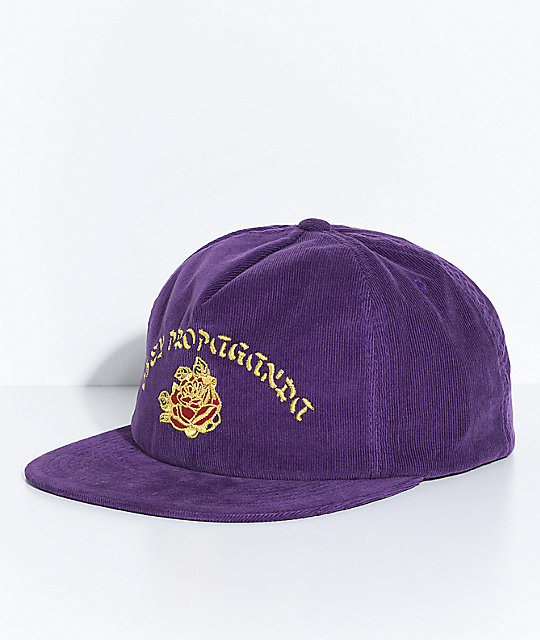Obey Takeout Purple Corduroy Snapback Hat