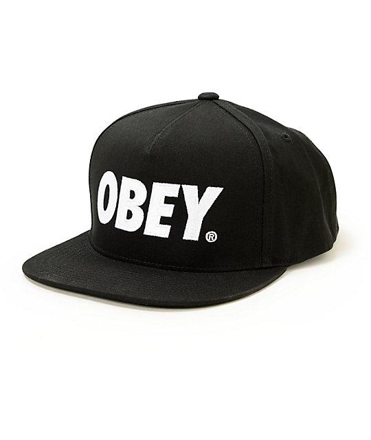 cbb2efeb0bce2c Obey The City Black Snapback Hat   Zumiez