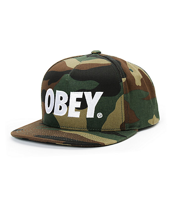 16074eeeff4 Obey The City Camo   White Snapback Hat