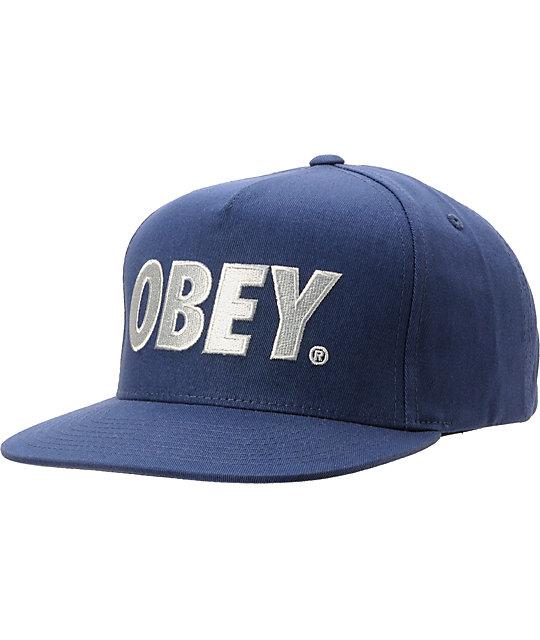 1eb2025991f Obey The City Navy Snapback Hat