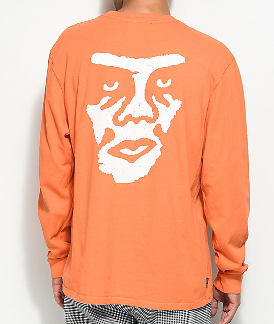Obey The Creeper camiseta de manga larga en color naranja