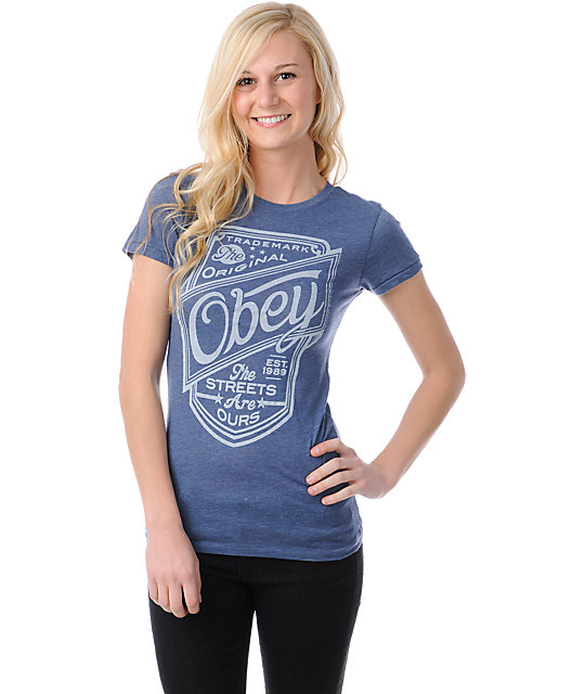 Obey The Streets Are Ours Heather Blue Crew T-Shirt