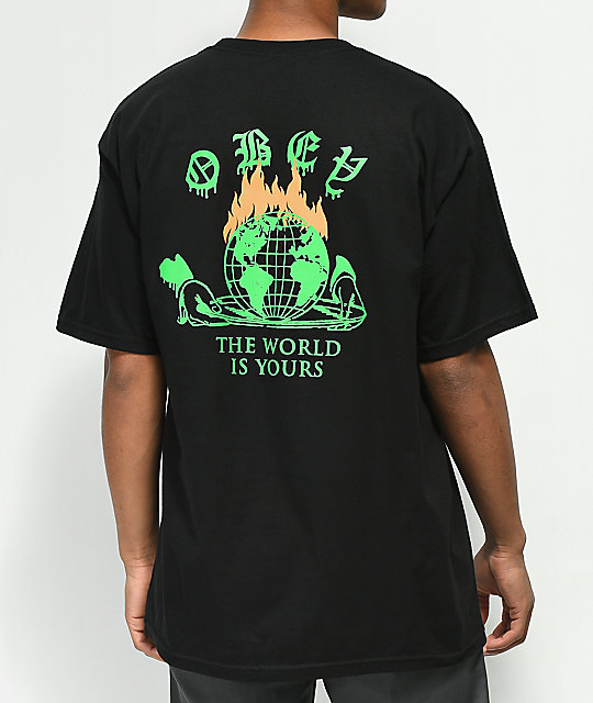 Obey The World Is Yours camiseta negra