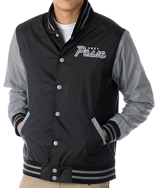 Obey Throwback Black & Grey Varsity Jacket