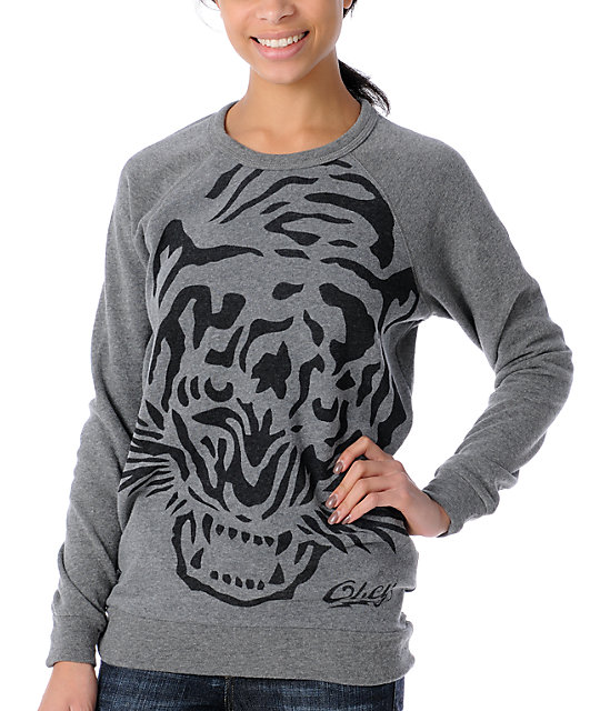 Obey Tiger Burn Heather Grey Pullover Sweatshirt