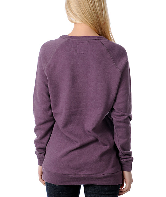 Obey Tiger Burn Purple Pullover Sweatshirt