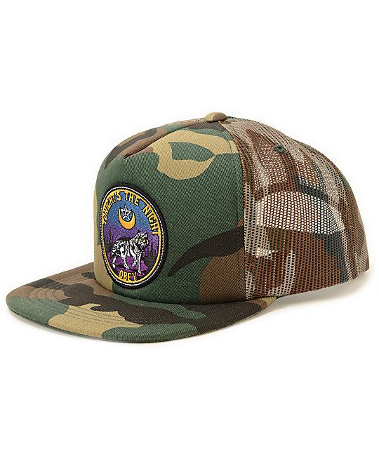 Obey Tonights The Night Camo Print Trucker Hat  b01ff9dfad6