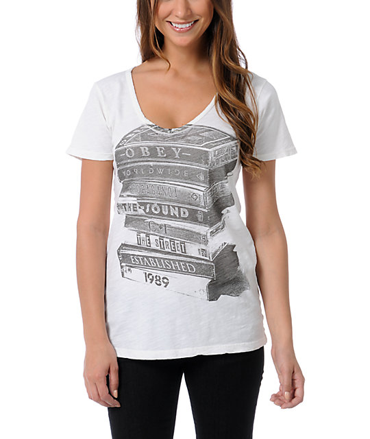 Obey Tower Of Tapes Natural V-Neck T-Shirt