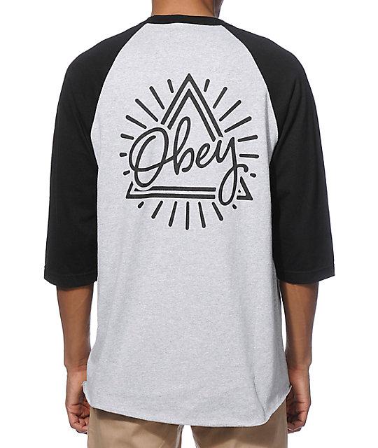 Obey triangle baseball t shirt zumiez for Custom shirt stores near me
