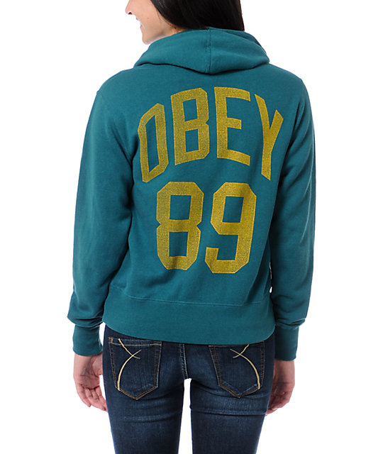 Obey Triple Double Teal Zip Up Hoodie