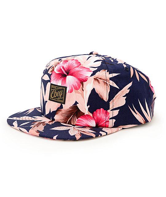 6ab187df3cb6a Obey Tropics Floral Snapback Hat