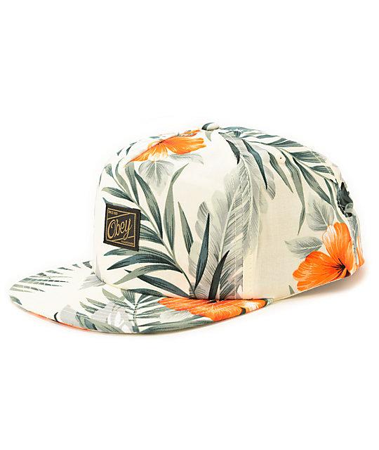 b5ccf12c7c8fd Obey Tropics Grey Floral Snapback Hat