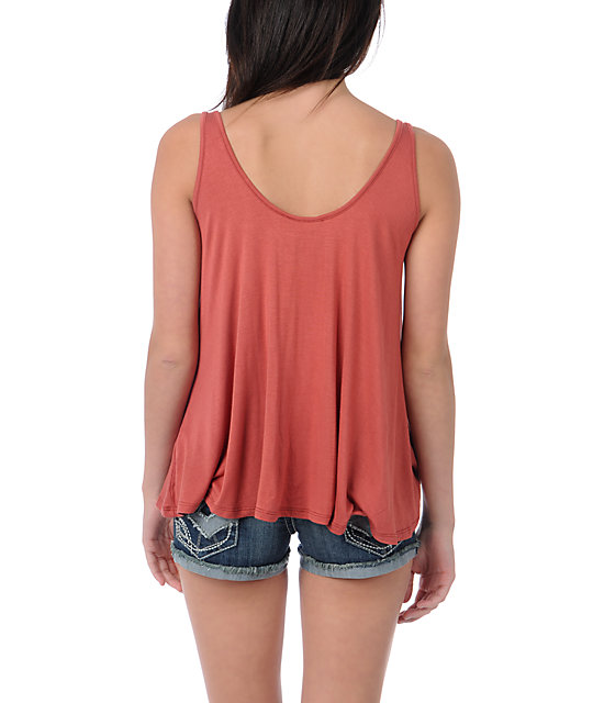 Obey Turquoise Thunder Rust Red Heartbreaker Tank Top