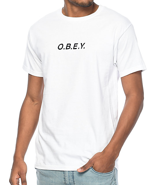 Obey Type Embroidered White T-Shirt