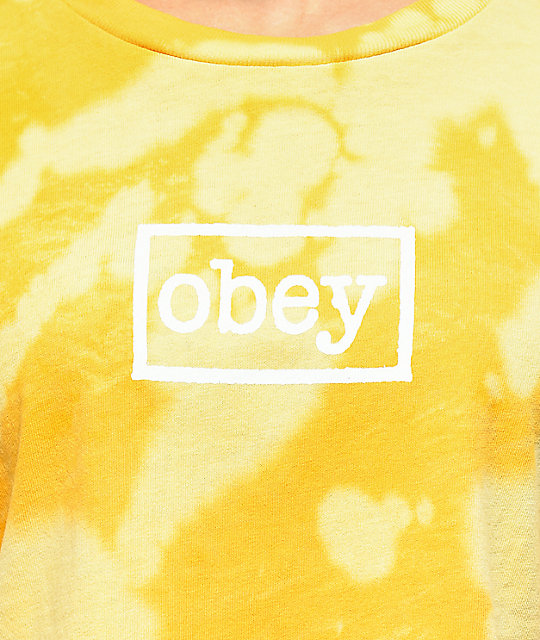 Obey Typerwriter Bleached Yellow Crop T-Shirt