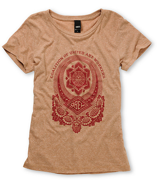 Obey United Art Workers Heather Beige T-Shirt