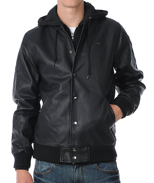 Obey Varsity Black Hooded Bomber Jacket