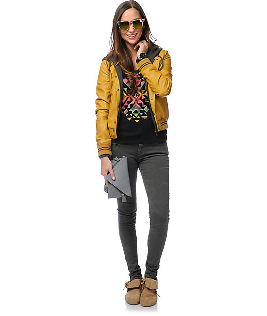 Obey Varsity Lover Amber Gold Faux Leather Jacket
