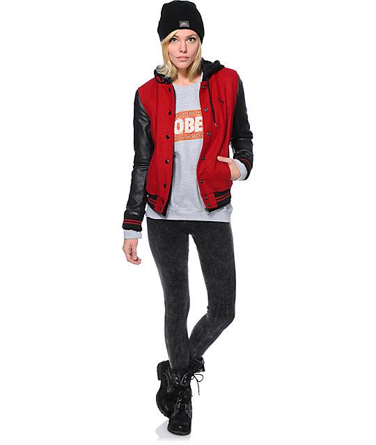 Obey Varsity Red Black Varsity Jacket Zumiez