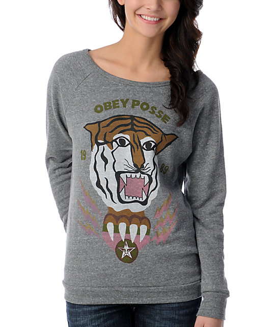 Obey Vintage Tiger Grey Vandal Scoop Neck Sweatshirt
