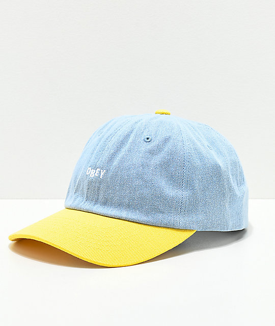Obey Warlow Light Blue Denim   Yellow Snapback Hat  b187c47bb2b