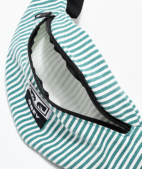 Obey Wasted Green & White Striped Fanny Pack