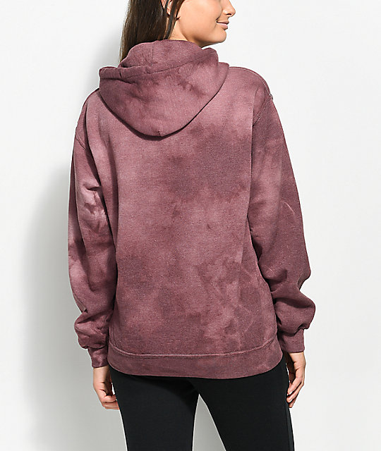 Obey Web Of Lies Burgundy Tie Dye Hoodie