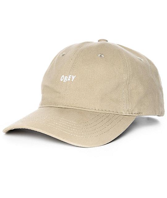 8ae52626a0d Obey White Jumble Khaki Strapback Hat
