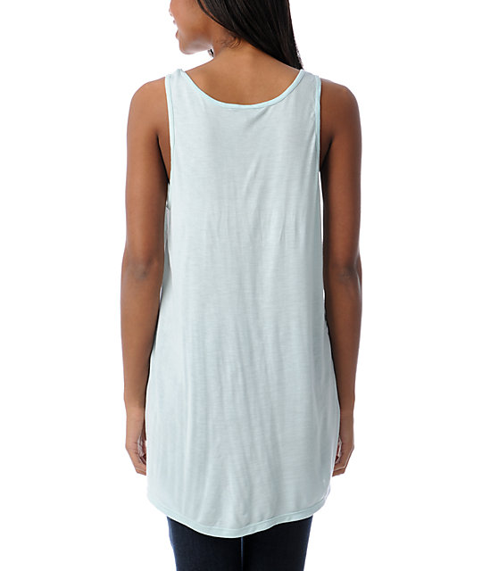 Obey Window In Time Pastel Blue Rayon Tank Top