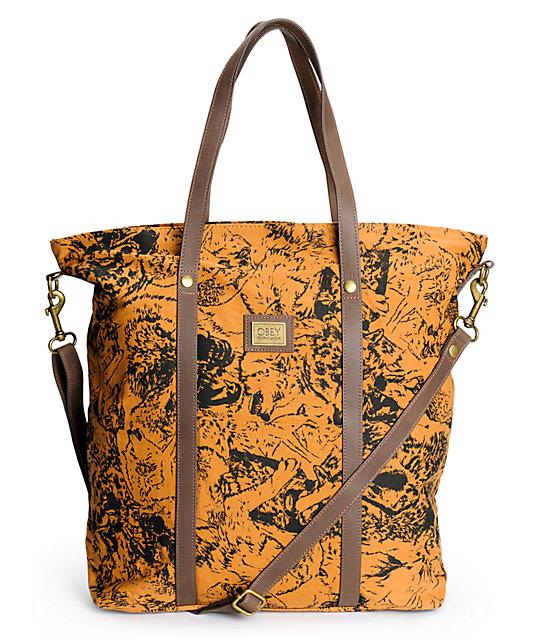Obey Wolf Pack Dark Khaki Tote Bag