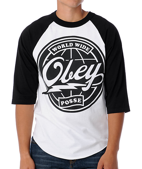 Obey World Wide Posse Black & White Baseball T-Shirt