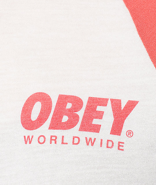 Obey Worldwide Font Grey & Red Baseball T-Shirt
